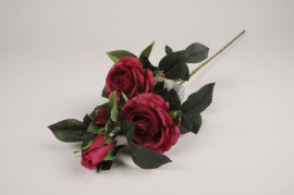 x099am Branche de roses spray artificielle fuchsia H68cm