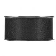 X099UN Black satin ribbon with gold glitters 40mm x 25m