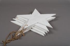 X104U7 Set of 5 whitened wooden star D39cm