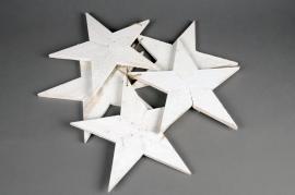 X107U7 Pack of 5 white wooden stars D27cm