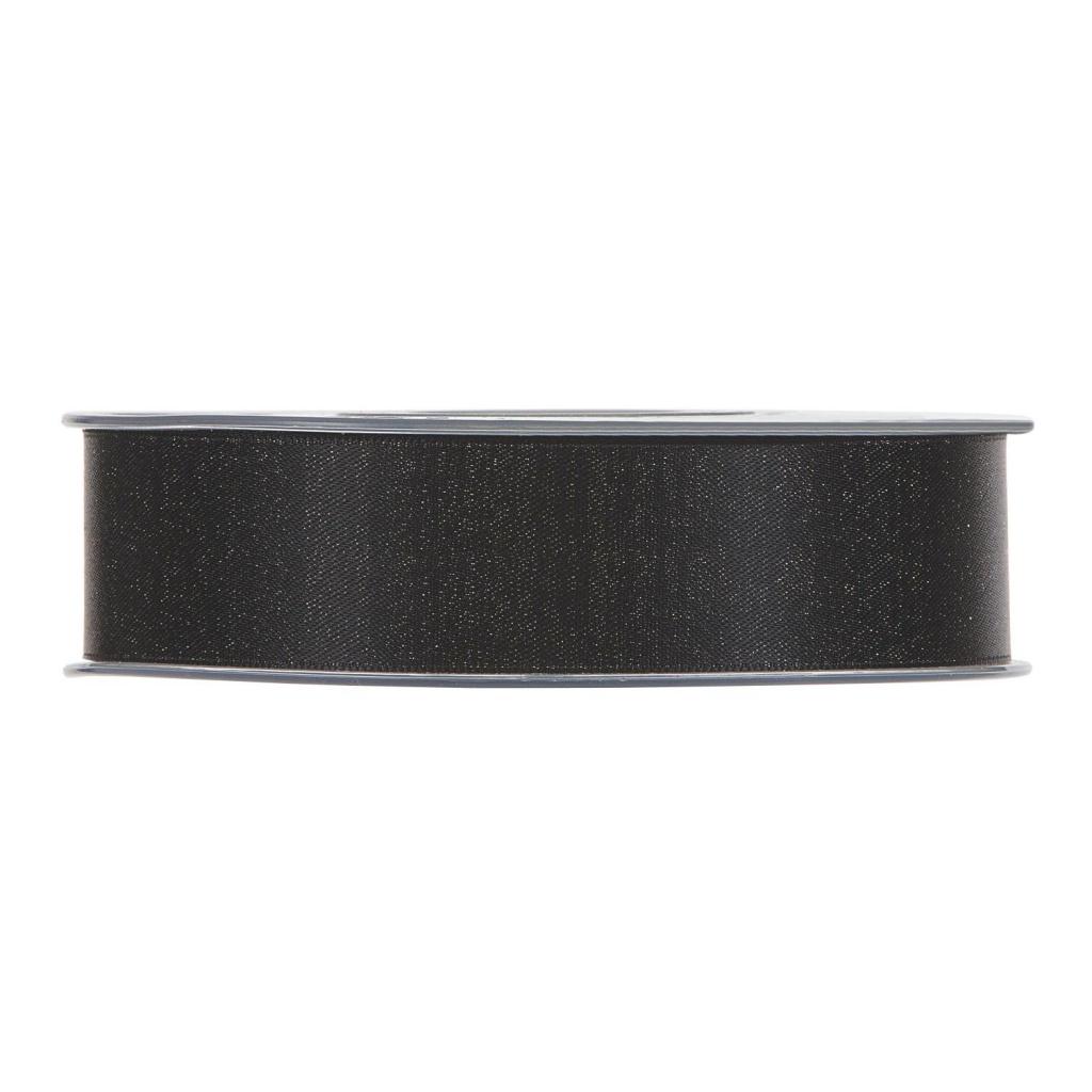 X107UN Black satin ribbon 25mmx25m