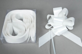 X108RB Box of 30 white automatic knotswidth of the ribbon 30mm
