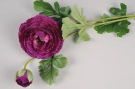 x109am Renoncule artificielle violet 70cm