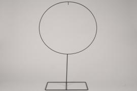 x110ec Cercle en métal noir sur pied D40cm H65.5cm