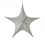 X114DQ Etoile en tissu argent pailleté D80cm