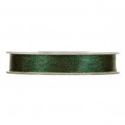 X114UN Green satin ribbon à paillettes dorées 15mm x 25m