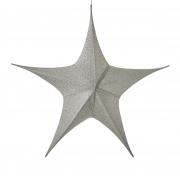 X115DQ Etoile en tissu argent pailleté D110cm