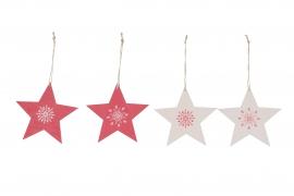 X117U7 Set de 4 étoiles en bois rouge et blanc D13cm