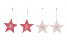 X117U7 Set of 4 red and white wooden stars D13cm