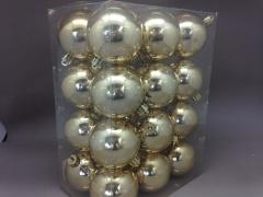 X117ZY Boîte de 24 boules en plastique or D6cm