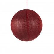 X118DQ Boule en tissu rouge pailleté D40cm