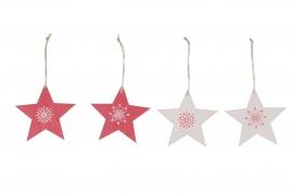 X118U7 Set de 4 étoiles en bois rouge et blanc D10cm