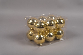 X118ZY Boîte de 12 boules plastique or D8cm