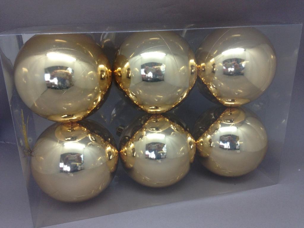 X119ZY Box of 6 plastic balls gold D10cm