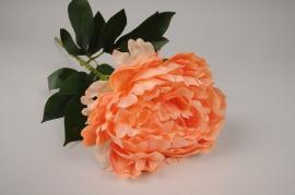 x121am Pivoine artificielle orange H63cm
