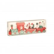 X123DQ Train en bois rouge et vert H8cm