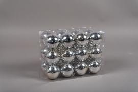 X123ZY Boîte de 24 boules plastique argent D6cm