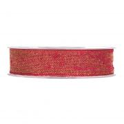 X124UN Ruban de coton rouge et or 25mm x 10m