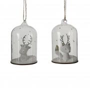 X126DQ Cloche en verre décor Noel blanc assortie D7 cm H11 cm