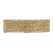 X126UN Natural and gold cotton ribbon 25mm x 10m