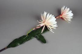 x128el Fleurs de cactus artificielle blanc 123cm