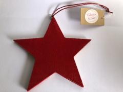 X128GM Red velvet hanging star D10cm