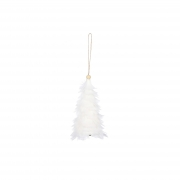 X131DQ Sapin en plumes blanches H15cm
