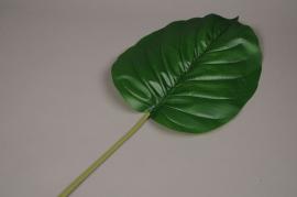 x132ee Feuille d'alocasia artificiel vert L95cm