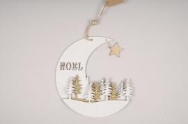 X132GM Lune Noël en bois blanc  D22cm