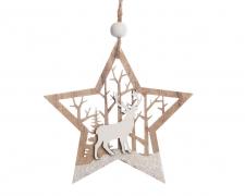 X132KI Set de 2 étoiles en bois décoration de noël D9cm