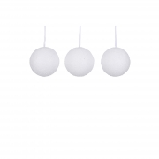 X135DQ Box of 3 snow effect polyester balls D10cm
