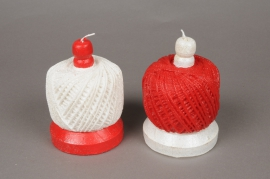 X135IJ Candle red or white wool pincushion D8.5cm H12cm assorted