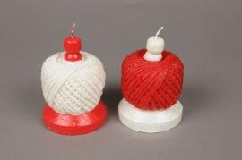 X136IJ Bougie pelote de laine rouge ou blanche D7cm H10cm