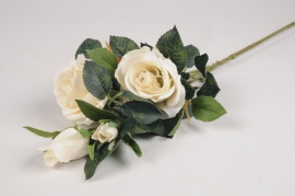 x141am Branche de roses spray artificielle blanc H68cm