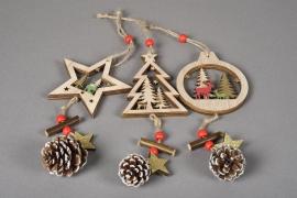 X143KI Décoration de Noël en bois assortis H22cm