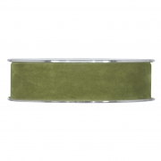 X144UN Ruban de velours vert olive 25mm x 7m