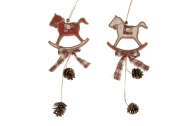 X146U7 Cheval en bois à suspendre rouge et blanc assorti avec ruban H25cm