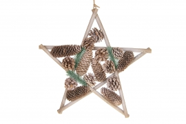X147U7 Natural wooden star with pine cones D40cm