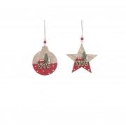 X148DQ Décoration Noël en bois rouge et blanc assortie  D12cm