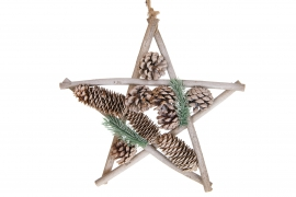 X148U7 Natural wooden star with pine cones D30cm
