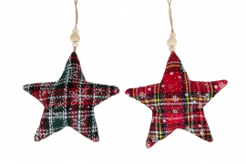X149U7 Green and red scottish design tissu hanging star D16cm