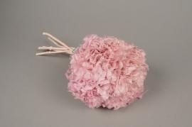 x152ab Hortensia preservé rose H33cm