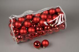 X152ZY Sac de 100 boules plastique rouge D6cm