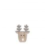X153DQ Tête de cerf en bois naturel l12,5cm H15cm