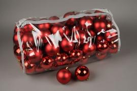 X153ZY Sac de 80 boules plastique rouge D8cm