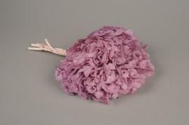 x154ab Hortensia preservé rose mauve H33cm