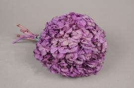 x155ab Hortensia preservé rose mauve H33cm