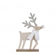 X155DQ Cerf en bois naturel l13cm H22cm