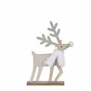 X155DQ Natural wooden deer with gold glitter l13cm H22cm
