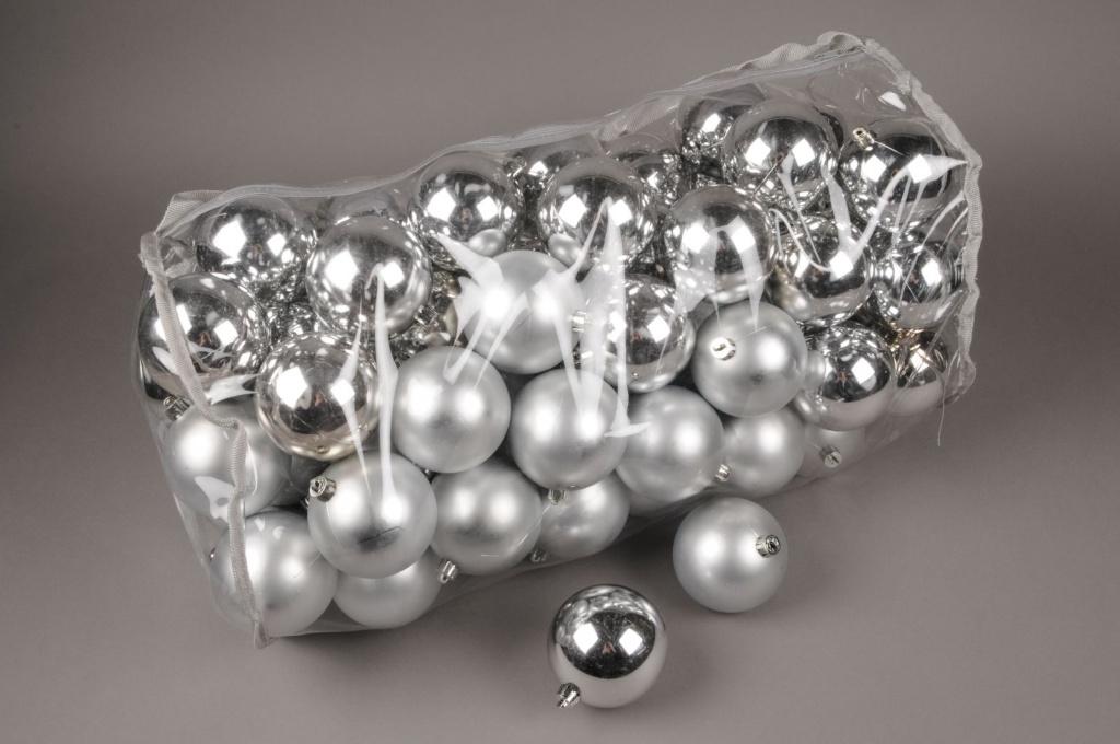 X156ZY Sac de 80 boules plastique argent D8cm